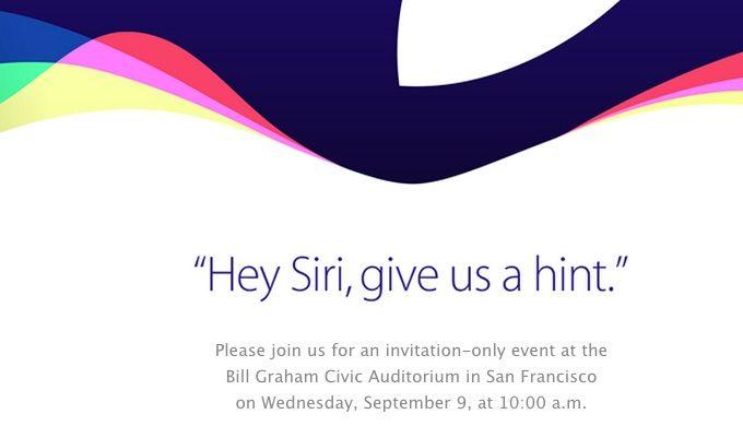 苹果正式发出邀请函:9月9号上午10点在旧金山召开新一代iPhone等产品发布会。